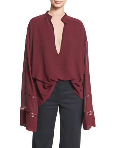 Lace-Inset Plunging V-Neck Blouse, Wine