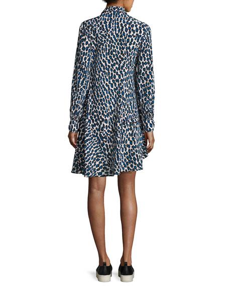 Leopard-Print Pleated Shirtdress, Blue