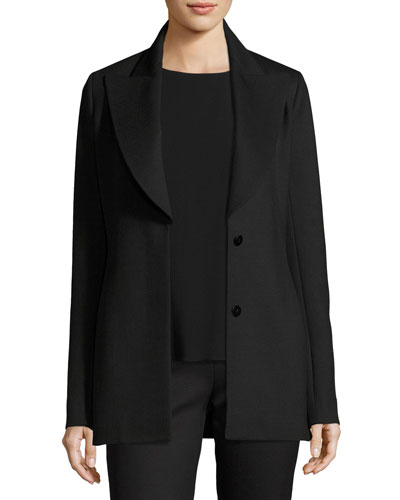Demilla Two-Button Stretch-Wool Jacket, Black