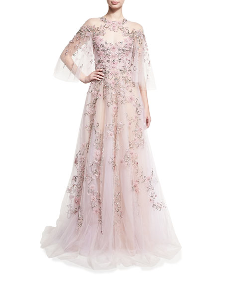 d1c3883c Marchesa Floral-Embroidered Tulle Flutter-Sleeve Gown, Light Pink