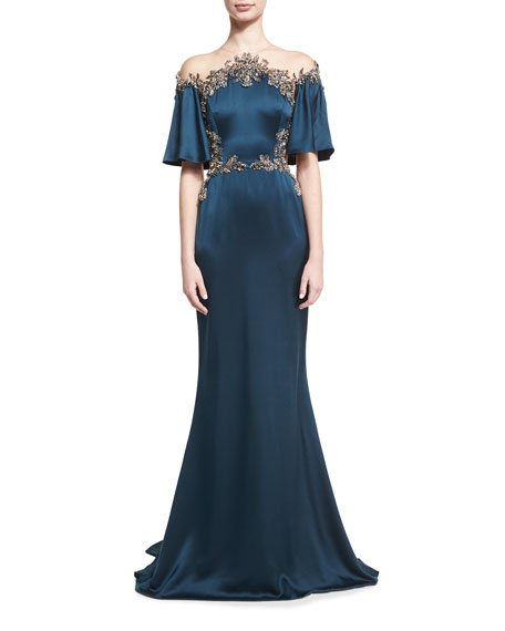 Embellished Silk Satin Illusion Gown, Blue