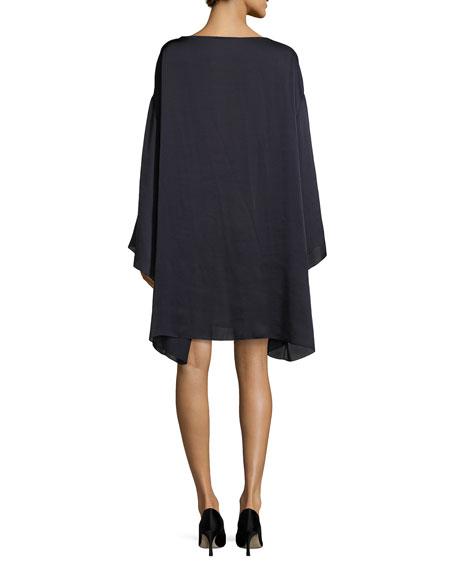 Tharpe Charmeuse Long-Sleeve Minidress, Navy