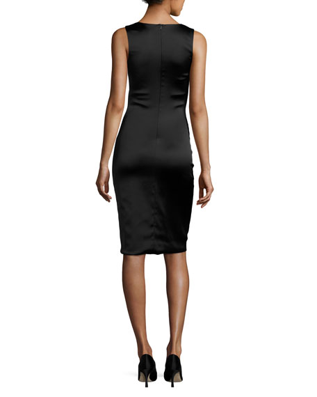 Hurel Sleeveless Satin Fitted Dress, Black