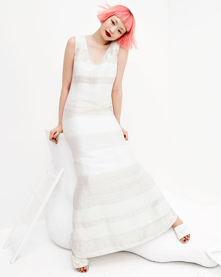 Yellin Sleeveless Textured Stripe Linen-Silk Maxi Dress, Light Beige