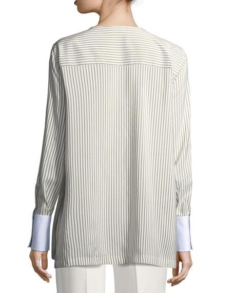 Striped Silk Blouse w/Oxford Cuffs