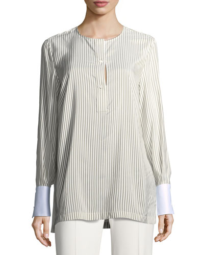 Striped Silk Blouse w/Oxford Cuffs