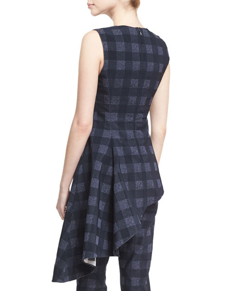 Sleeveless Gingham Asymmetric Drape Top, Navy