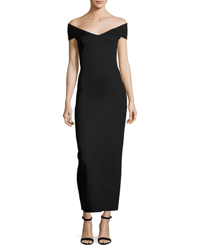 Delmi Off-the-Shoulder Scuba Maxi Dress