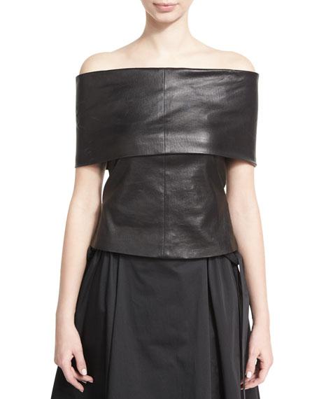 Off-the-Shoulder Banded Lamb Leather Top, Black