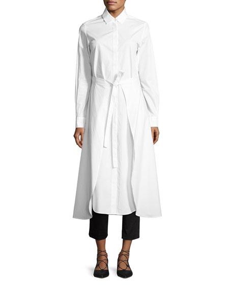 Rosetta Getty Poplin Apron-Wrap Shirtdress, White
