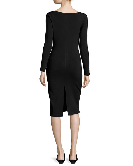 Melindah Long-Sleeve Knit Dress, Black