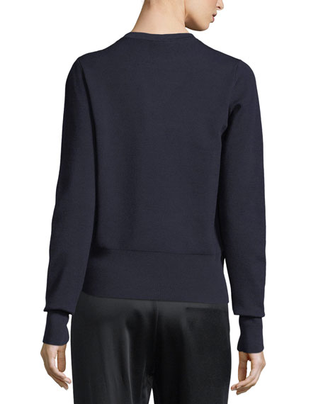 Senni Wool Crewneck Sweater, Black