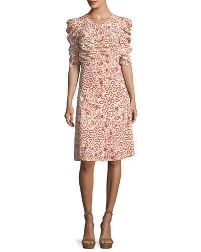 Gresham Ruched Half-Sleeve Dress