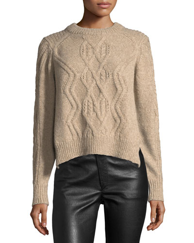 Elena Cable-Knit Crewneck Sweater