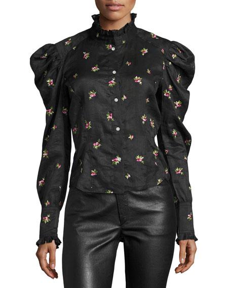 Utah Rose-Embroidered Puff-Sleeve Blouse, Black