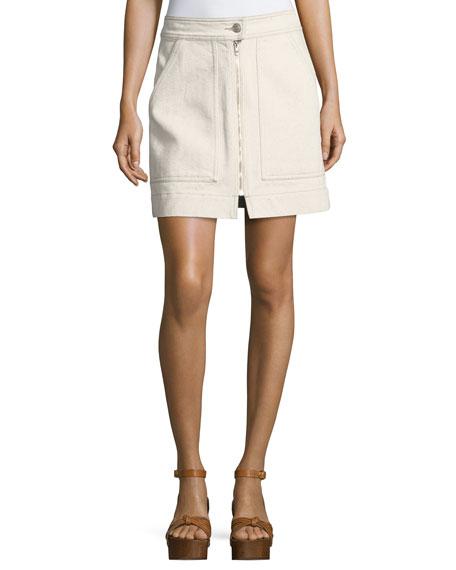 Penelope Flecked Denim Skirt, Ecru