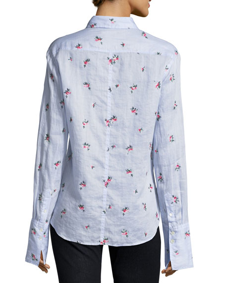Uliana Embroidered Button-Front Blouse
