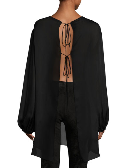 Latou Long-Sleeve Open-Back Satin Charmeuse Top, Black