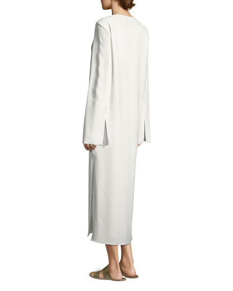 Selma Bell-Sleeve Cady Midi Dress, Ivory