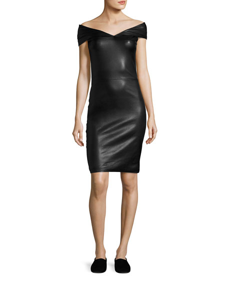 Pierre Off-the-Shoulder Leather Minidress, Black