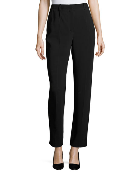 THE ROW William Single-Pleat Straight-Leg Pants, Black