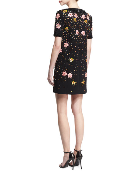 Floral-Embroidered Short-Sleeve Shift Dress, Black