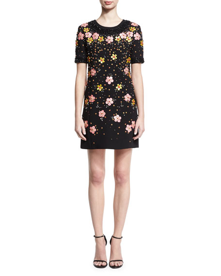 Zac Posen Floral-Embroidered Short-Sleeve Shift Dress, Black
