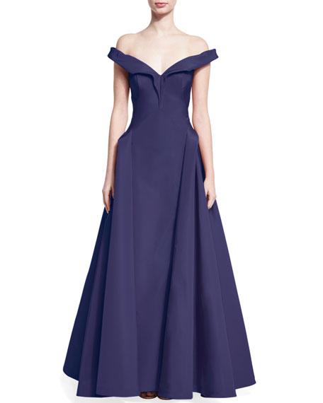 Off-the-Shoulder Silk Taffeta Gown, Violet