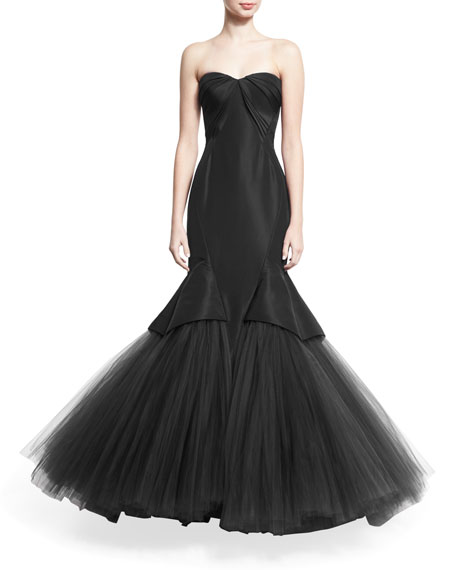 Pleated Strapless Tulle Mermaid Gown, Black