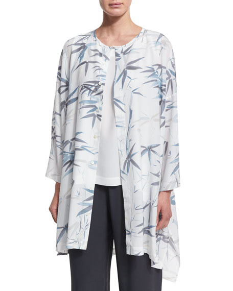 Long Printed Silk Top, White