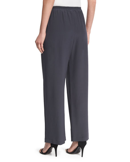 Wide-Leg Silk Trousers, Coal