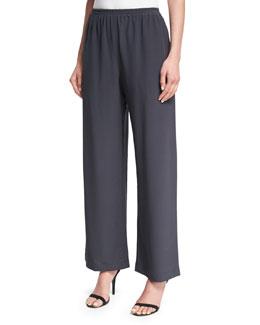 Wide-Leg Silk Trousers, Coal