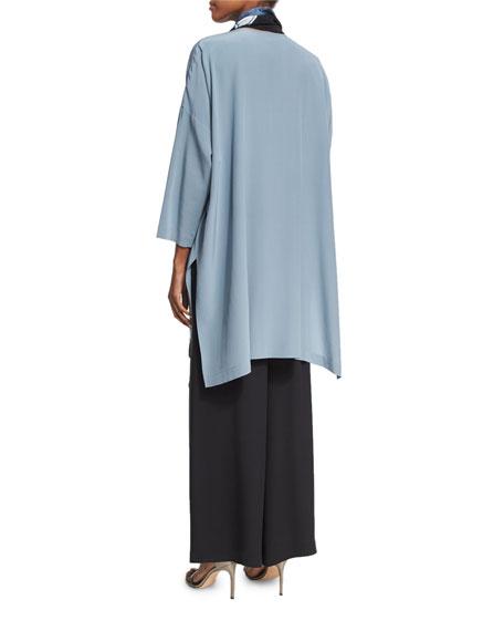 3/4-Sleeve Round-Neck Silk Blouse
