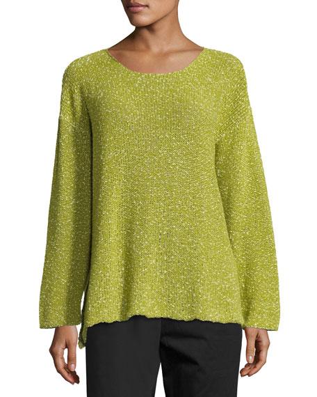 Round-Neck Corded Cotton Sweater