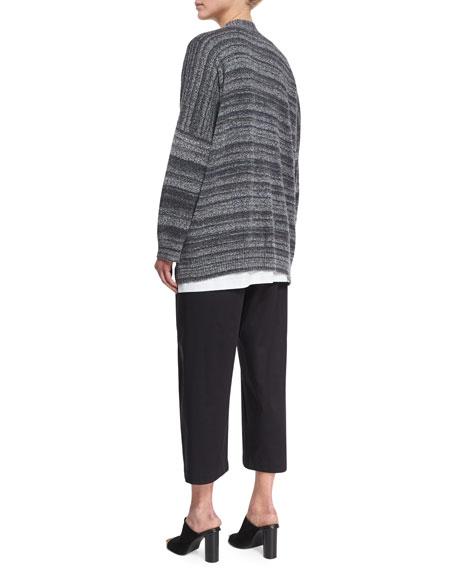 Cotton-Blend Cardigan Sweater, Black