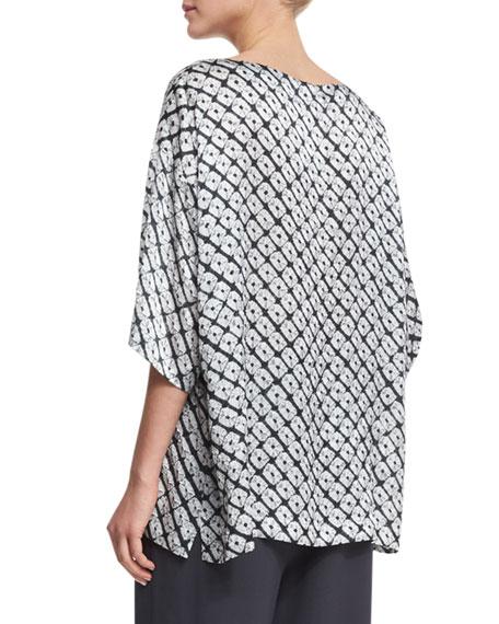 Small Diamond Shibori Silk Top, Gray
