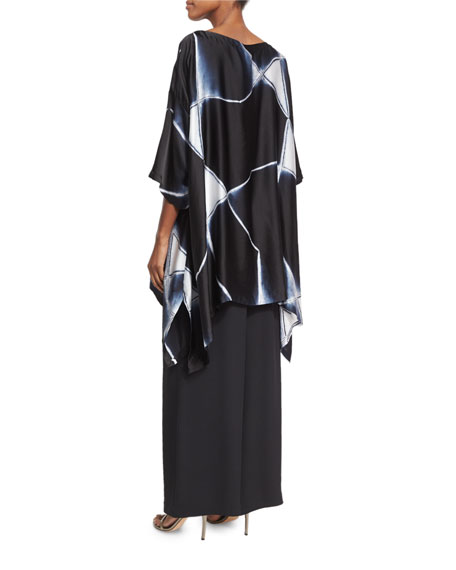 Abstract Geometric Shibori Silk Top, Black