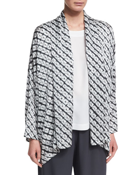 Small Diamond Shibori Shawl-Collar Jacket, Gray