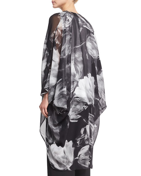 Printed Silk Chiffon Cocoon Coat, Black