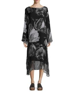 Double-Layer Printed Chiffon A-Line Dress, Black
