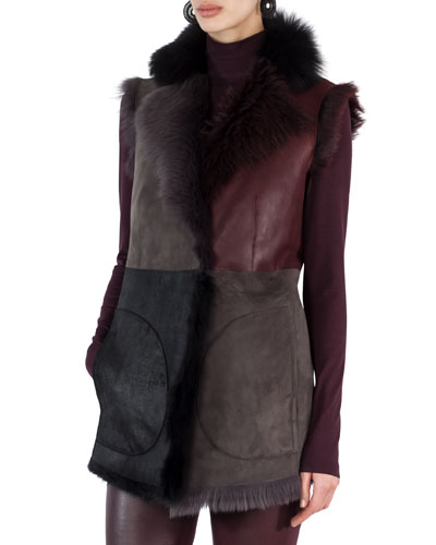Fur-Lined Patchwork Gilet