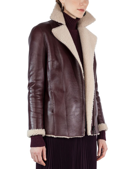 Shearling-Lined Notch-Collar Coat