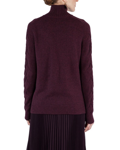 Cable-Trim Knit Turtleneck Sweater