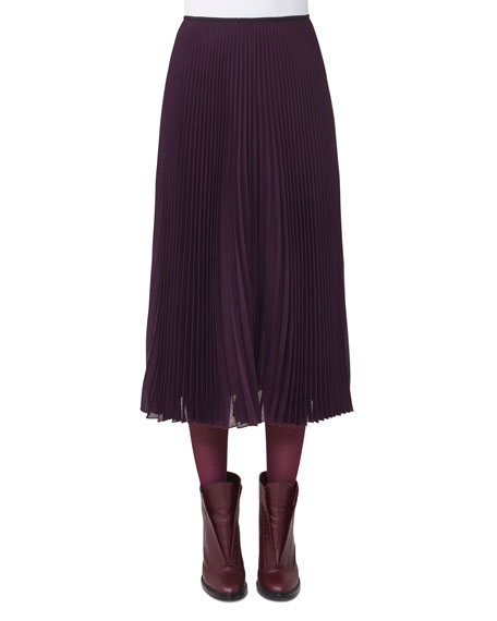 Plisse Wool-Blend Midi Skirt