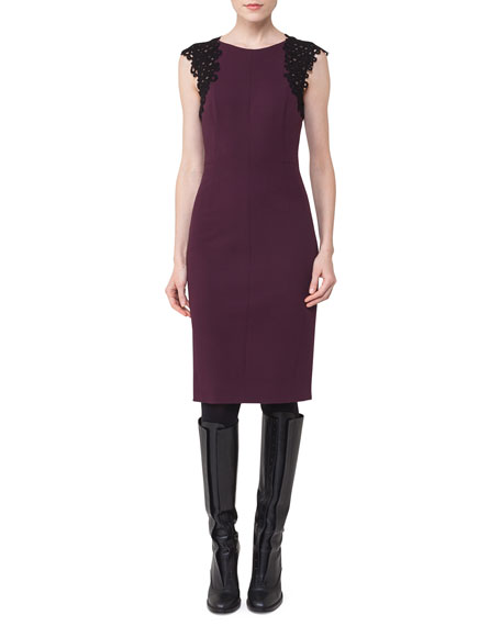 Akris punto Lace-Trim Cap-Sleeve Dress