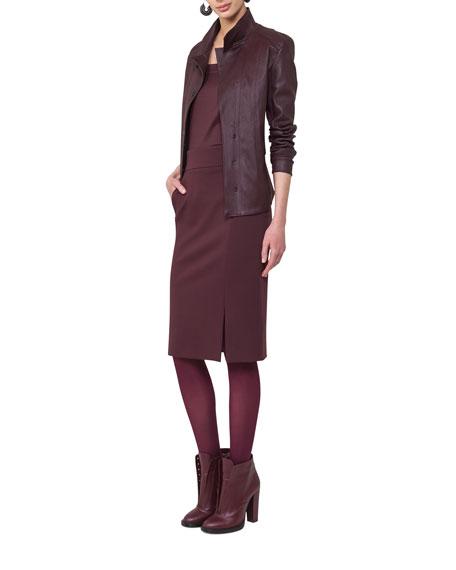 Napa Leather Snap-Front Jacket