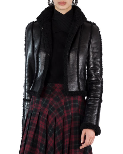 Shearling-Lined Open-Front Jacket