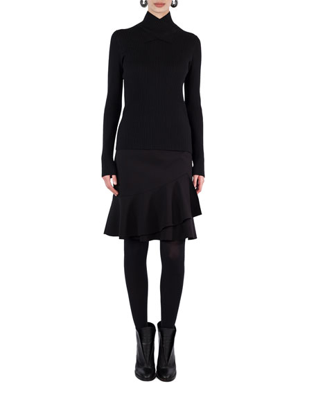 Cross-Neck Ribbed-Knit Sweater