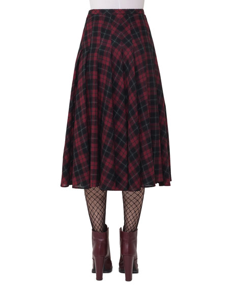 Glen Plaid Midi Skirt