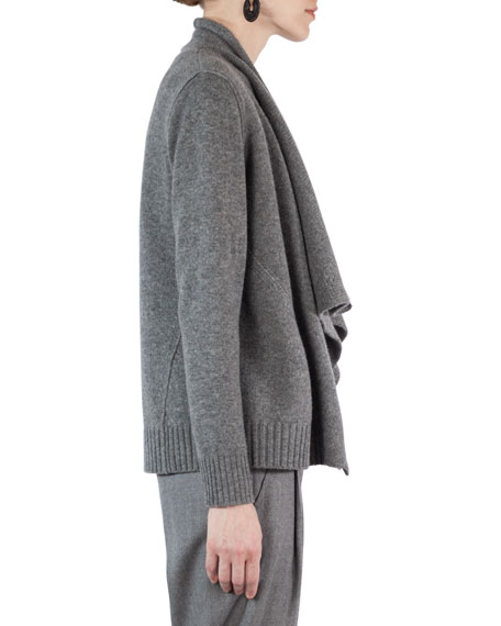 Draped Wool-Cashmere Cardigan Sweater